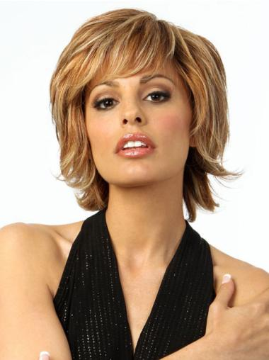 Refined Blonde Wavy Chin Length Wigs For Cancer