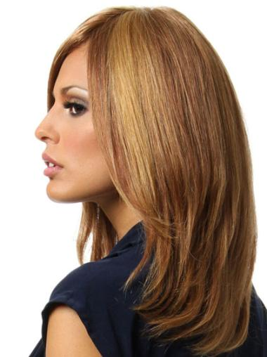 Stylish Brown Straight Shoulder Length Remy Human Lace Wigs