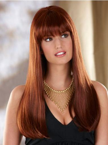 Perfect Auburn Lace Front Synthetic Long Wigs