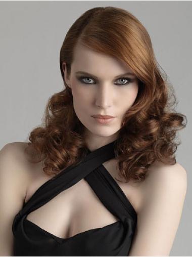 Brown Curly Synthetic Sleek Medium Wigs