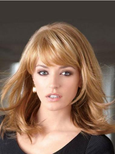 Hairstyles Blonde Straight Shoulder Length Lace Front Wigs