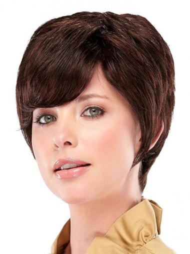 Shining Auburn Straight Cropped Synthetic Wigs