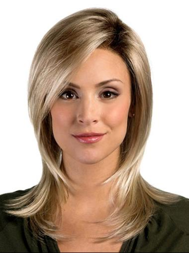 Tempting Blonde Straight Shoulder Length Synthetic Wigs