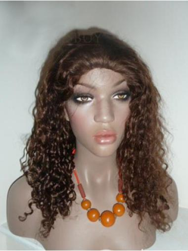 Tempting Brown Curly Long Human Hair Lace Front Wigs