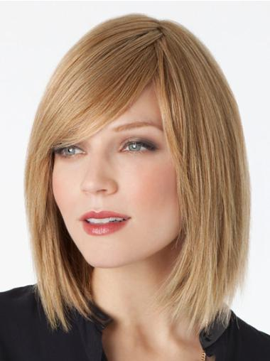 Mature Blonde Lace Front Shoulder Length Remy Human Lace Wigs