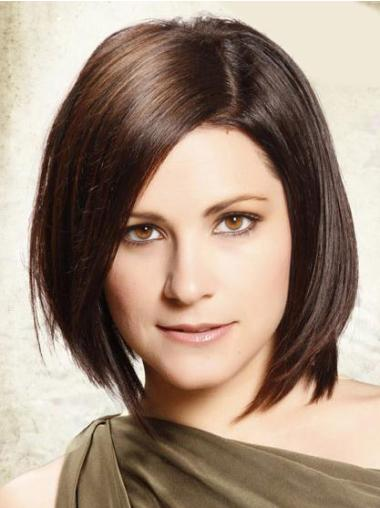 Trendy Lace Front Straight Chin Length Remy Human Lace Wigs