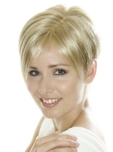Glamorous Lace Front Boycuts Blonde Short Wigs