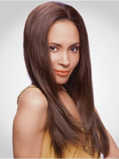 Faddish Auburn Straight Long Human Hair Lace Front Wigs