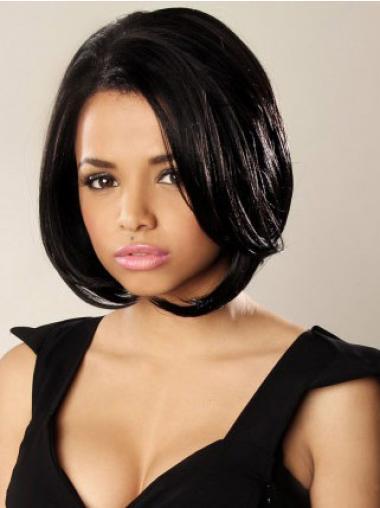 Black Wavy Synthetic Affordable Medium Wigs