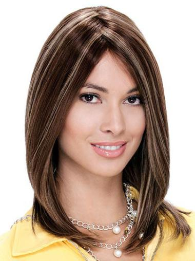 Monofilament Straight Shoulder Length Human Hair Wigs
