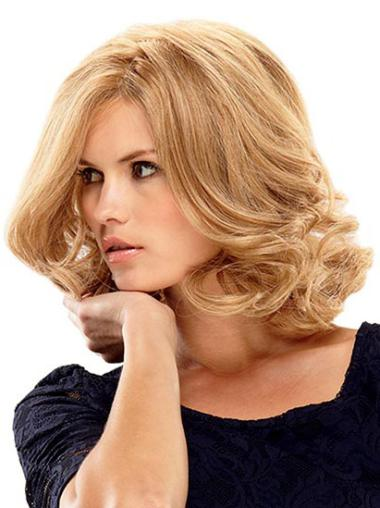 Trendy Blonde Wavy Shoulder Length Lace Front Wigs