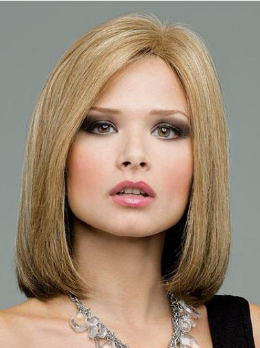 Soft Blonde Lace Front Shoulder Length Remy Human Lace Wigs