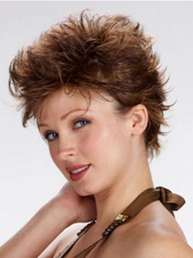 Brown Exquisite Boycuts Wavy Wigs For Cancer