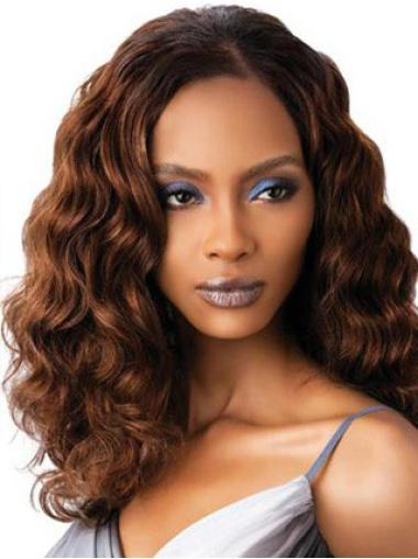 High Quality Auburn Wavy Shoulder Length Petite Wigs