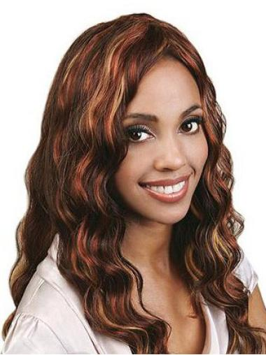 Soft Auburn Wavy Long Human Hair Full Lace Wigs