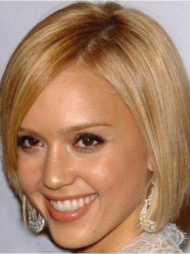 Blonde Straight Remy Human Hair Mature Medium Wigs