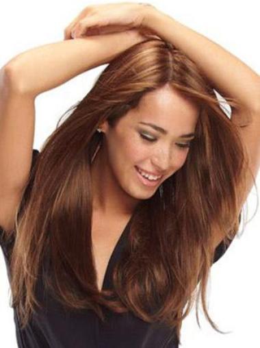 Style Auburn Straight Long Human Hair Wigs