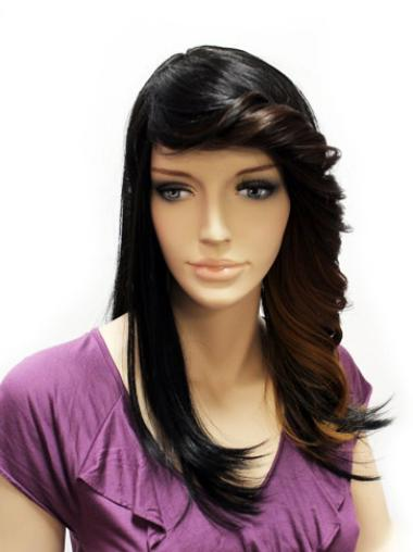 Fashion Black Lace Front Synthetic Long Wigs