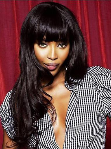 Glamorous Black Wavy Long Celebrity Wigs