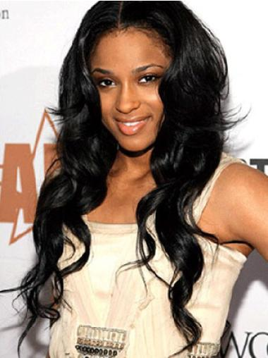 Preferential Black Wavy Long Celebrity Lace Wigs
