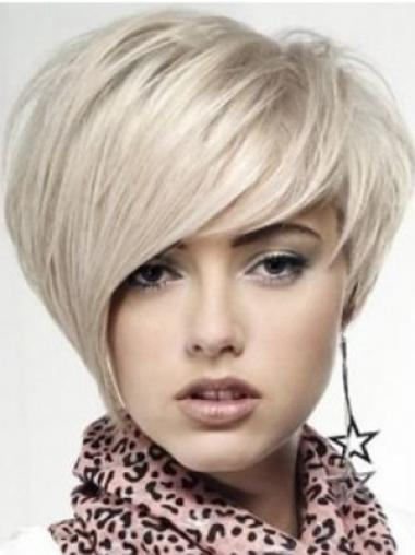 Blonde Monofilament Remy Human Hair Easy Medium Wigs