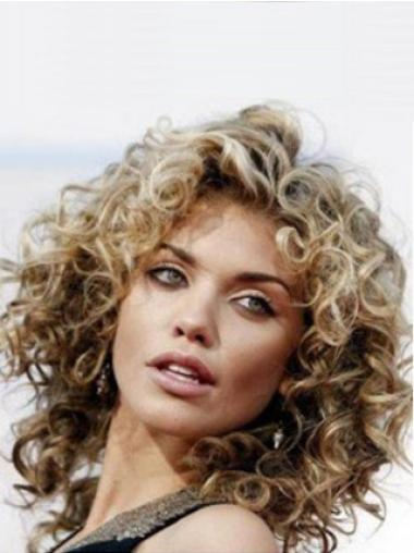 Wholesome Monofilament Curly Shoulder Length Lace Front Wigs