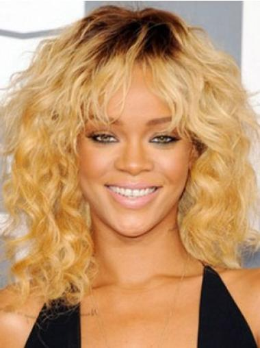 Discount Blonde Curly Shoulder Length Celebrity Wigs