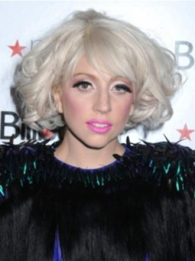 Sleek Curly Chin Length Lady Gaga Wigs
