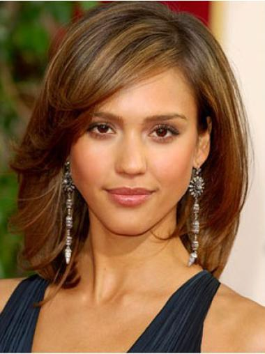 Affordable Brown Straight Shoulder Length Jessica Alba Wigs