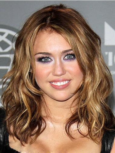 Stylish Brown Wavy Shoulder Length Celebrity Wigs