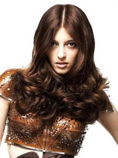Elegant Auburn Wavy Long Celebrity Wigs
