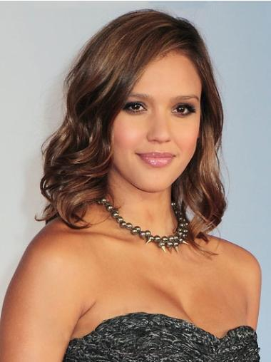 Brown Wavy Shoulder Length Jessica Alba Wigs