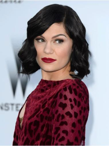 Gorgeous Black Wavy Chin Length Jessie J Wigs