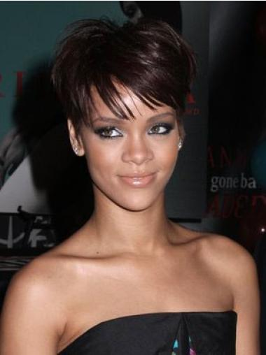 Impressive Auburn Straight Cropped Rihanna Wigs