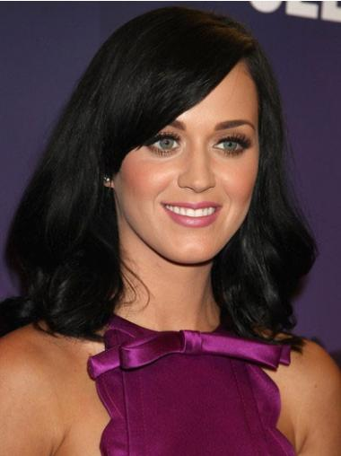 Soft Black Monofilament Shoulder Length Katy Perry Wigs