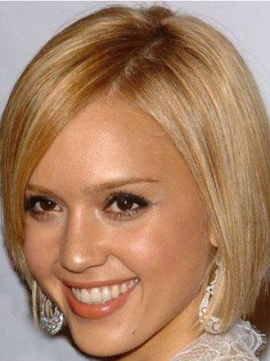 Tempting Blonde Straight Chin Length Jessica Alba Wigs