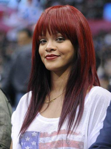 New Red Straight Long Rihanna Wigs
