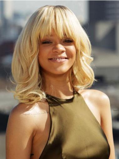 Fashion Blonde Curly Shoulder Length Rihanna Wigs