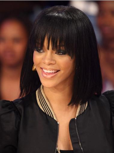 Preferential Black Straight Shoulder Length Rihanna Wigs