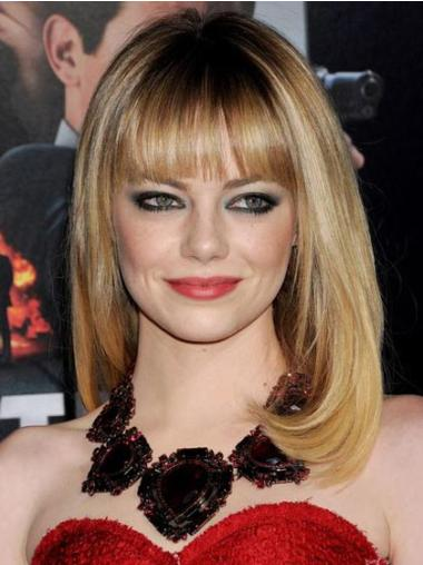 Traditiona Blonde Straight Shoulder Length Celebrity Wigs