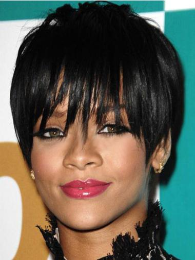 Comfortable Black Straight Cropped Rihanna Wigs