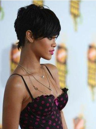 Black Straight Cropped Rihanna Wigs