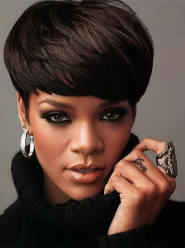 Beautiful Black Straight Cropped Rihanna Wigs