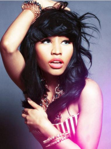 Popular Black Wavy Shoulder Length Nicki Minaj Wigs