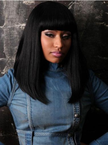 Natural Black Straight Shoulder Length Nicki Minaj Wigs