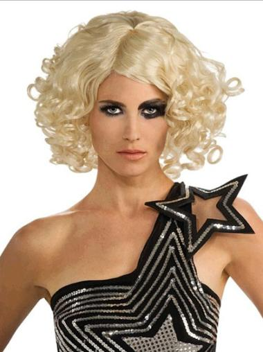 Great Blonde Curly Chin Length Lady Gaga Wigs