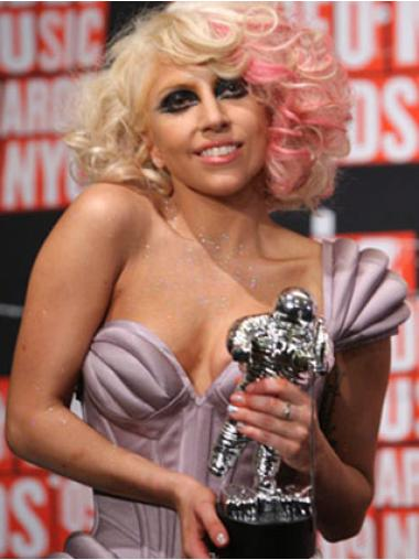 Natural Blonde Wavy Shoulder Length Lady Gaga Wigs