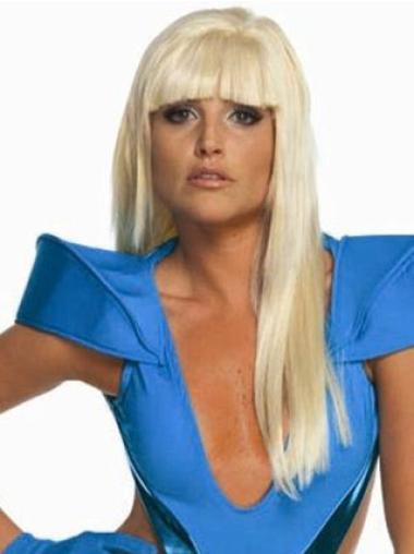 No-fuss Blonde Straight Long Lady Gaga Wigs