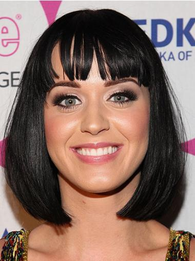 Perfect Black Straight Chin Length Katy Perry Wigs
