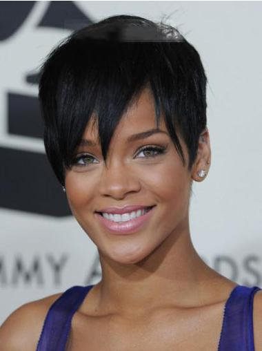 Designed Black Cropped Rihanna Wigs